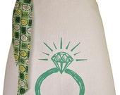 Organic block print ring apron