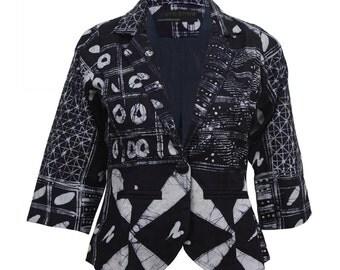 Blue Blazer, Summer Blazer, African Clothing, Batik Jacket, Womens blazer, Tribal print, African print blazer, Wearable art, african style