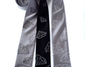 Diamond tie. Silkscreened men's silk necktie. Geometric jewel print on black, silver and more.