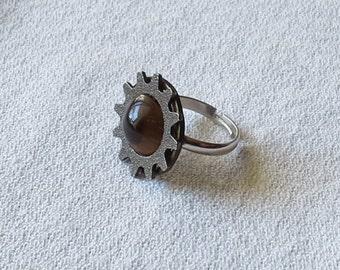 Steampunk Tigers Eye Adjustable Ring