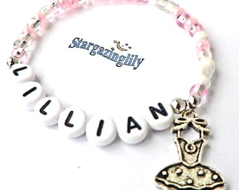 Children's Jewelry Name Bracelet PERSONALIZED with Ballet Charm Party Favor Dance Recital Gift Infant Child Kid Adult Sizes