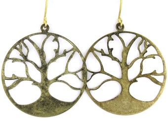 Birdhouse Jewelry -  Antiqued Gold Tree Circle Earrings