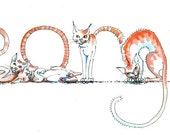 Your Name in Cats! - Custom original artwork  - the Spelling Animals will spell any name for you.