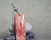 Shimmery orange SUNSTONE on oxidised sterling silver ball chain - Phoenix