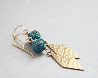 Jardiniere Earrings - vintage aqua rosebuds golden textured diamond drops