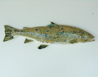 Atlantic Salmon Ceramic art fish wall hanging