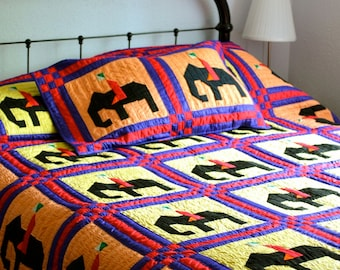 Vintage Quilt in Silk & Cotton Elephant Motif 1981 Bohemian Bedding
