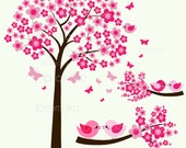Cute Cherry Blossom Tree and Little Bird Sitting On The Branch, Ideal for Scrapbooking, Cardmaking and Paper Crafts
