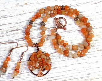 Red Carnelian Necklace Autumn Tree of Life Pendant GIFT SET Matching Earrings Wire Wrapped Jewelry Orange Copper Harvest Autumn Leaves RTS