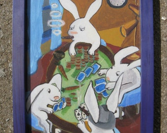 "Bunnies Gone Bad -- 7 Deadly Sins Framed Giclee Print 5X7"" -- Greed"