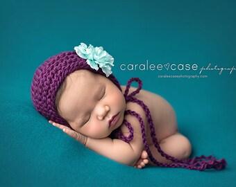 Purple Heirloom Bonnet - newborn girl photography prop mint aqua flower hat