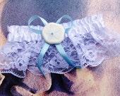 Sand dollar Garter/ White Satin and Lace / Blue bow with Sand Dollar embellishment / Destination Wedding/ Bridal garter/ Beach Wedding
