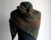 Custom Made Small Hand Knit Shoulder Shawl Scarf Cowl, Stylish Comfort Prayer Meditation, Triangle, Loden Green, Vegan, FREE SHIPPING