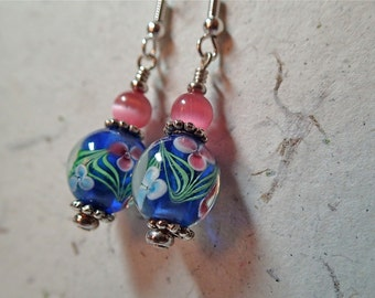 Pink with Pink and Blue  Encased Floral Glass Earrings on silver