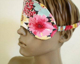 Modern Floral Sleepmask Bright Flowers On Black With Lace Print Back Padded Cotton Eye Mask
