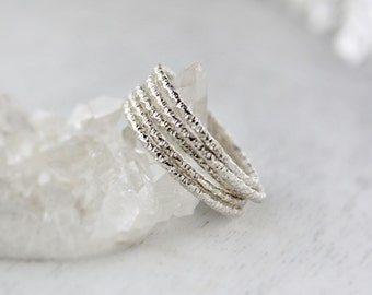 Sterling silver stacking rings, faceted band set of 3, sparkle rings, thin silver ring trio, skinny ring