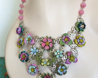 Vintage Statement Bib Necklace - Silver Lace - Hand Painted Vintage Flowers - OOAK