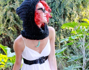 Custom Lightweight Black Scooflet - Crocheted Hooded Eternity Scarf w/ Acrylic Yarn - Women's Mini Scoofie - READY TO SHIP