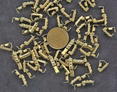 "FANCY RAW BRASS Fold Over Vintage Clasps Lot of (25) 3 mm x 10 mm 3/8"" long jc rbfclasp Foldover  More Available"