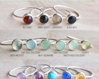 6mm gemstone ring.  sterling silver ring. dainty gem ring. stacking ring. birthstone rings.