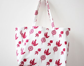 SALE Organic Cotton Canvas Market Tote - Pink Beets