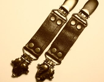 Short Skirt Clip set Brown Leather Antique Brass Leaves Elfin Steampunk bustle clips Garter by Darkwear Clothing