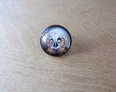 Owl cocktail Ring - Adjustable Ring - baby owl painting - statement jewelry - copper, silver, bronze