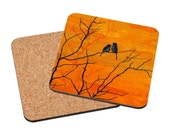 Art Coasters Mix & Match - Moment of Silence - romantic lovebirds painting orange sunset landscape autumn trees home decor gift Oladesign