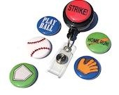 Baseball Softball ID Badge Reel - Interchangeable Badge Holder for gym teacher, softball coach, work, office, baseball lover, sports gift