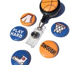 Baskteball ID Badge Reel - Interchangeable Badge Holder for work, basketball coach, gym teacher, basketball player, fan, sports gift
