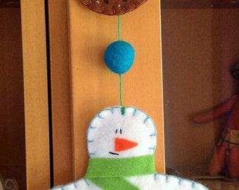 Felt Christmas decoration. Snowman pudding hanging decoration handmade by the Felt Fairy.