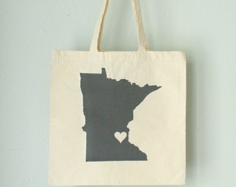 MINNESOTA LOVE eco TOTE Minneapolis / St Paul Charcoal state silhouette heart on natural bag