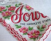 Vintage Iowa Hankie Vintage State Handkerchief - The Hawkeye State