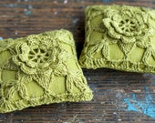 Linen  pincushion - crochet motif --  fuschia