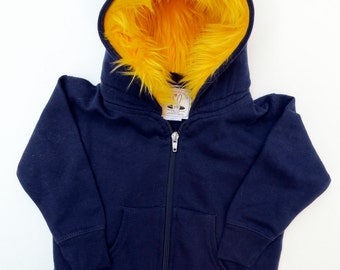 Toddler Monster Hoodie - Size 4T - Navy with Yellow - horned sweatshirt, custom jacket