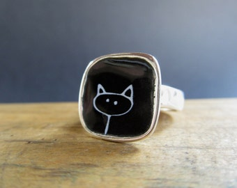 Sterling Silver and Vitreous Enamel Cat Ring - Black Cat - White Cat