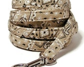 """XS Leash - Beige Bandana  - 3/8"""" wide - 4 or 6 Feet long for Cats and Small Dogs"""