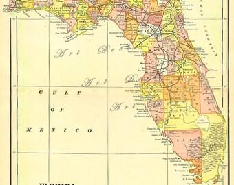 antique map of Florida, DIY vintage printable digital map no. 773