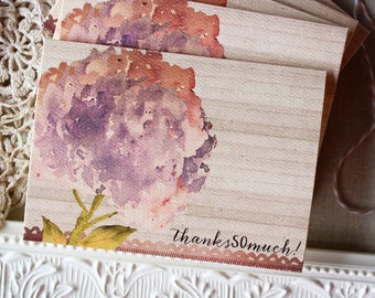 Floral Watercolor Hydrangea Thank You Notes set of 5