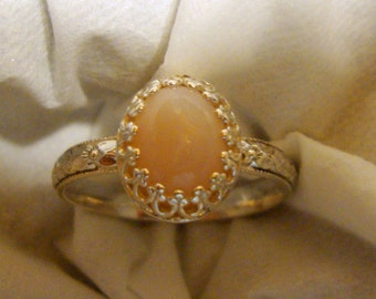 Ring Soft Pink Opal in eco-friendly recycled sterling silver or 14k gold -Custom Made in your Size - Joyful, soothing, Feminine, Classy