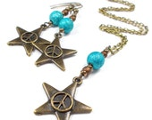 Plus Size, Little Twinkle Star in Terrestrial Teal, Necklace and Earring Set, Plus Size Jewelry