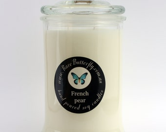 SCENTED SOY CANDLE in a glass jar with lid large hand poured in Australia by Rare Butterfly