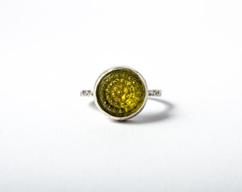Yellow Tobiko Sterling Silver Ring-button ring made to order