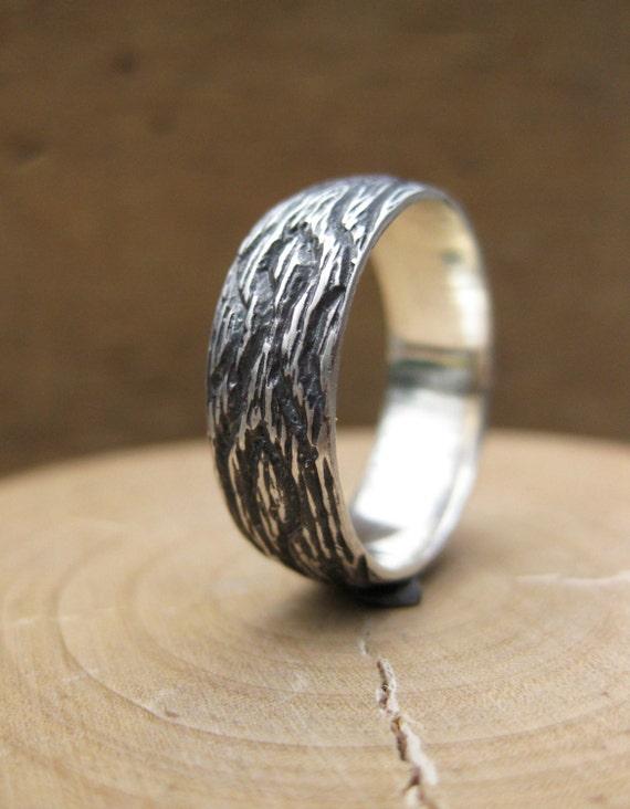 woodgrain ring OAK sterling silver size 7