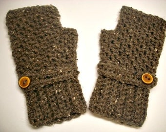 Barley Taupe Brown Fingerless Gloves Crocheted Mittens - Brown Gloves Taupe Gloves Womens Accessories