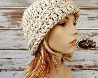 Crochet Hat Womens Hat 1920s Flapper Hat - Garbo Cloche Hat in Wheat Cream Tweed Crochet Hat - Womens Accessories Winter Hat