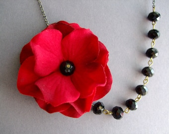 Statement Necklace Flower Necklace Red Necklace Black Necklace Wedding Jewelry Bridesmaid Gift Bridesmaid Jewelry Bib Necklace Gift For Her