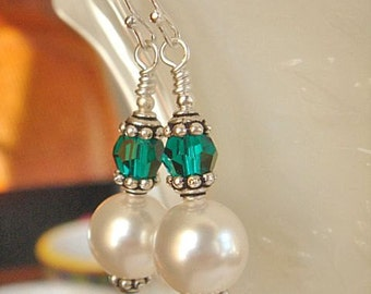 White Pearl Earrings Emerald Earrings Bridesmaid Earrings Wedding Jewelry Swarovski Elements Earrings Dangle Earrings