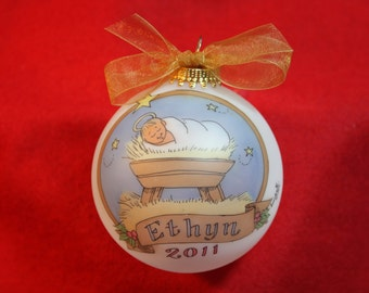 Baby Jesus in the Manger Handpainted Personalized Ornament