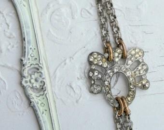 Vintage Rhinestone and Brass One of a Kind Bracelet....Maison One